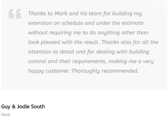 Testimonial about Millview Builders in Dover